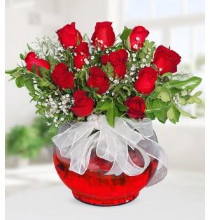 Fanusta Kırmızı Güller